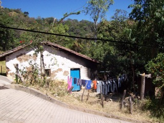 Laundry drying outside a home in rural Chalatenango